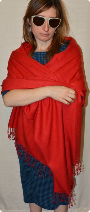 full-size 70 percent pashmina, 30 percent silk, red shawl