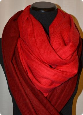 VIS #2P312 Crimson and VIS #2P323 Jester Red  medium size 100% pashmina twill shawl with tassels