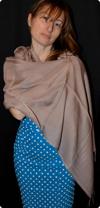 VIS #16D-10)  Medium-size 70% pashmina/30% silk shawl in Stucco, from Sunrise Pashmina