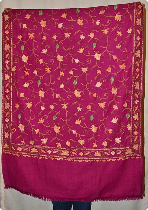 Full-surface embroidery on red medium-size 70% pashmina/30% silk shawl from Sunrise Pashmina