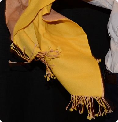 Sunrise Pashmina Medium mustardy yellow and sand (thread color #164) narrow-to-narrow ombre, standard 3-inch fringe