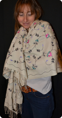 Full-surface embroidery on white medium-size 70% pashmina/30% silk shawl from Sunrise Pashmina